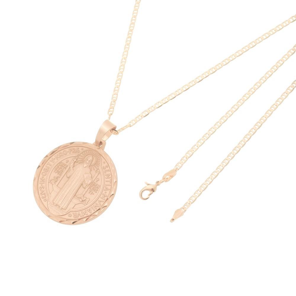 Pingente São Bento Diamantado Com Corrente Elo Italiano Folheado a Ouro Rosê