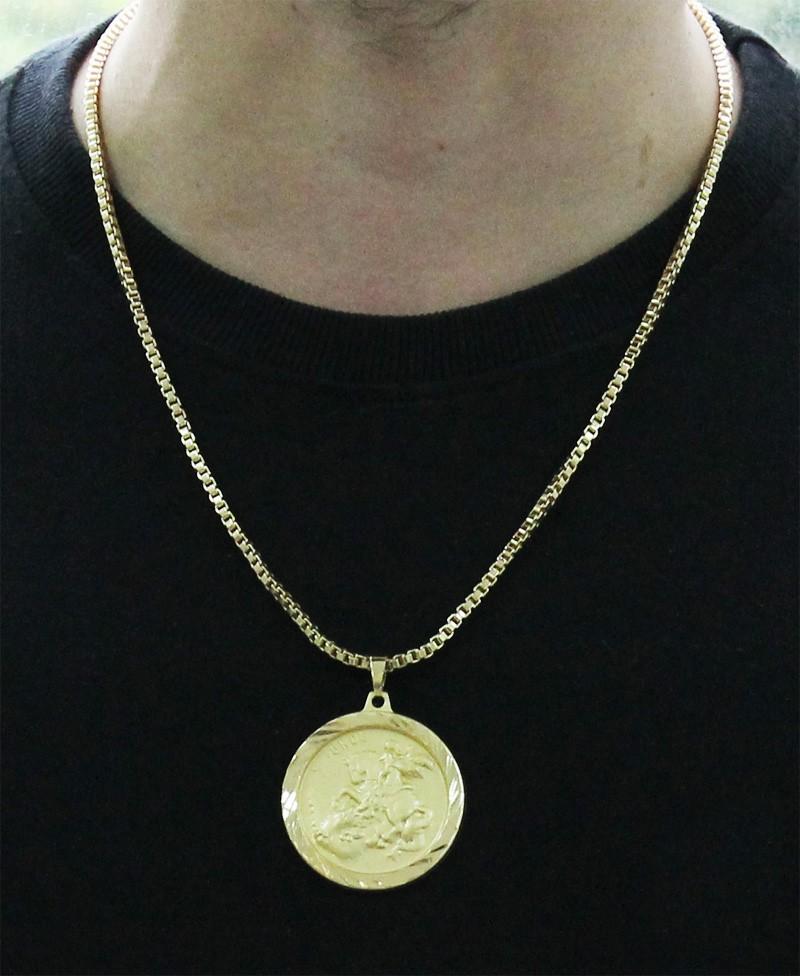 Pingente São Jorge + Corrente Veneziana Folheada a Ouro 18k