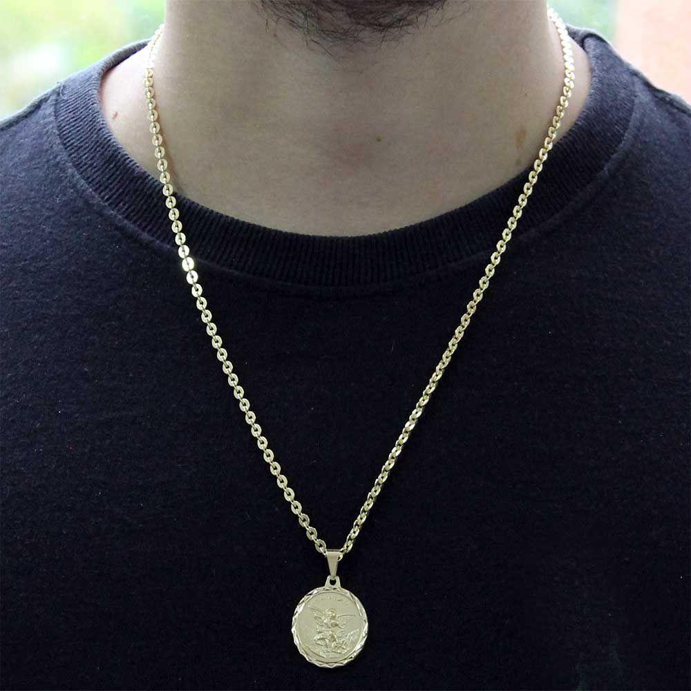 Pingente São Miguel Arcanjo Com Corrente Cadeado Folheado a Ouro 18k