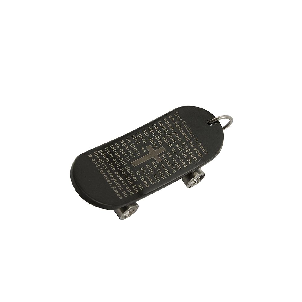 Pingente Skate de Aço Inox 316L Folheado