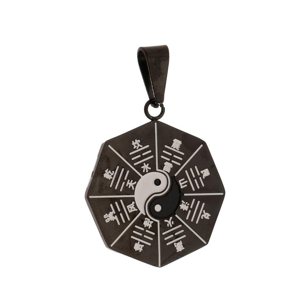 Pingente Yin Yang Black de Aço Inox