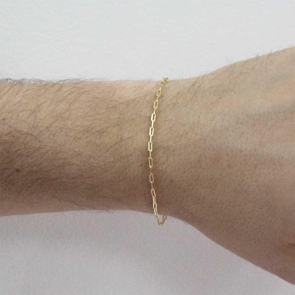 Pulseira modelo francesa Longa Folheada Ouro 18k