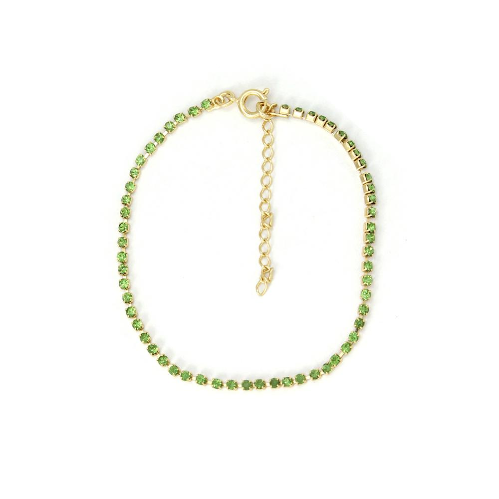 Tornozeleira Com Pedras Verde Folheado a Ouro 18k
