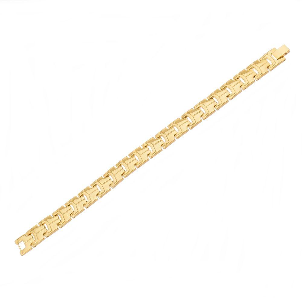 Pulseira de Aço Inox com 12mm de Largura Banho PVD Gold