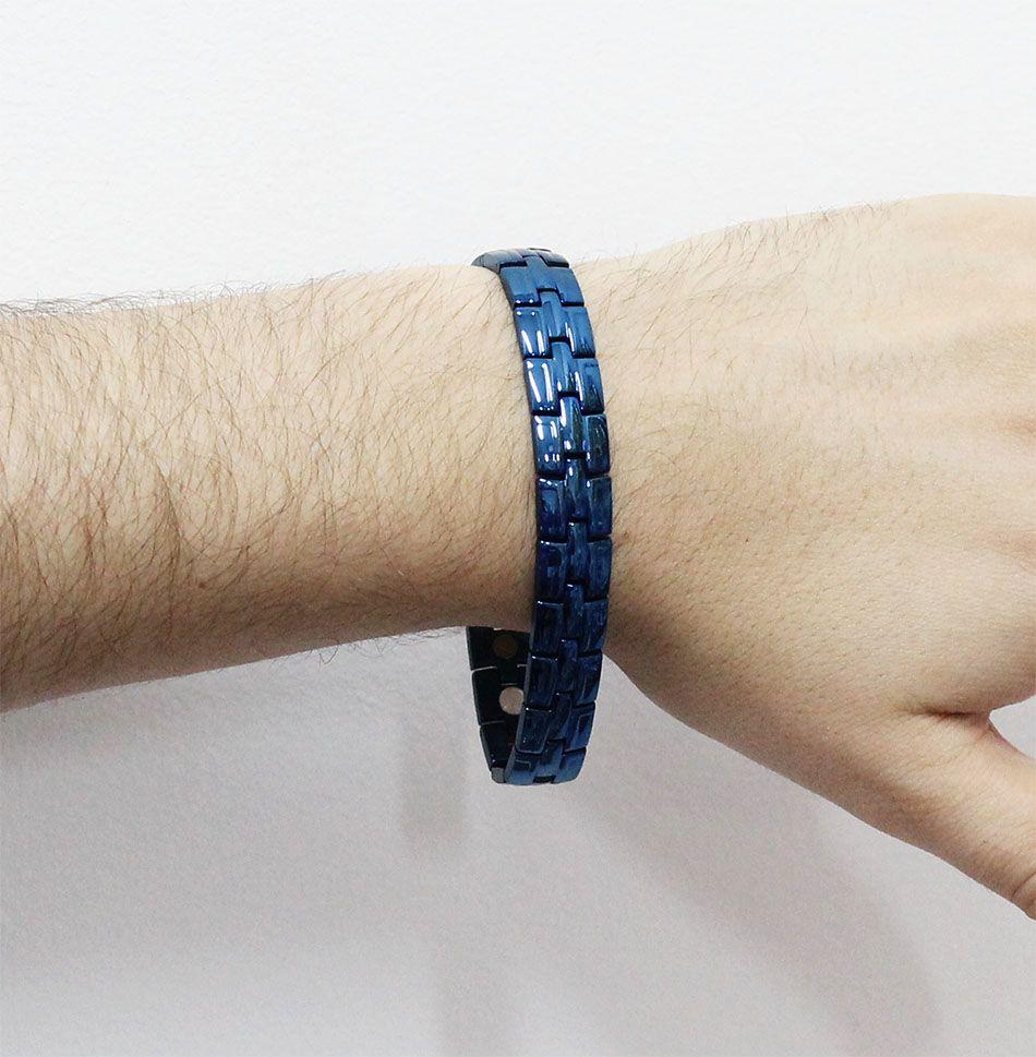Pulseira de Aço Inox com 12mm de largura Cor Blue Cobalt