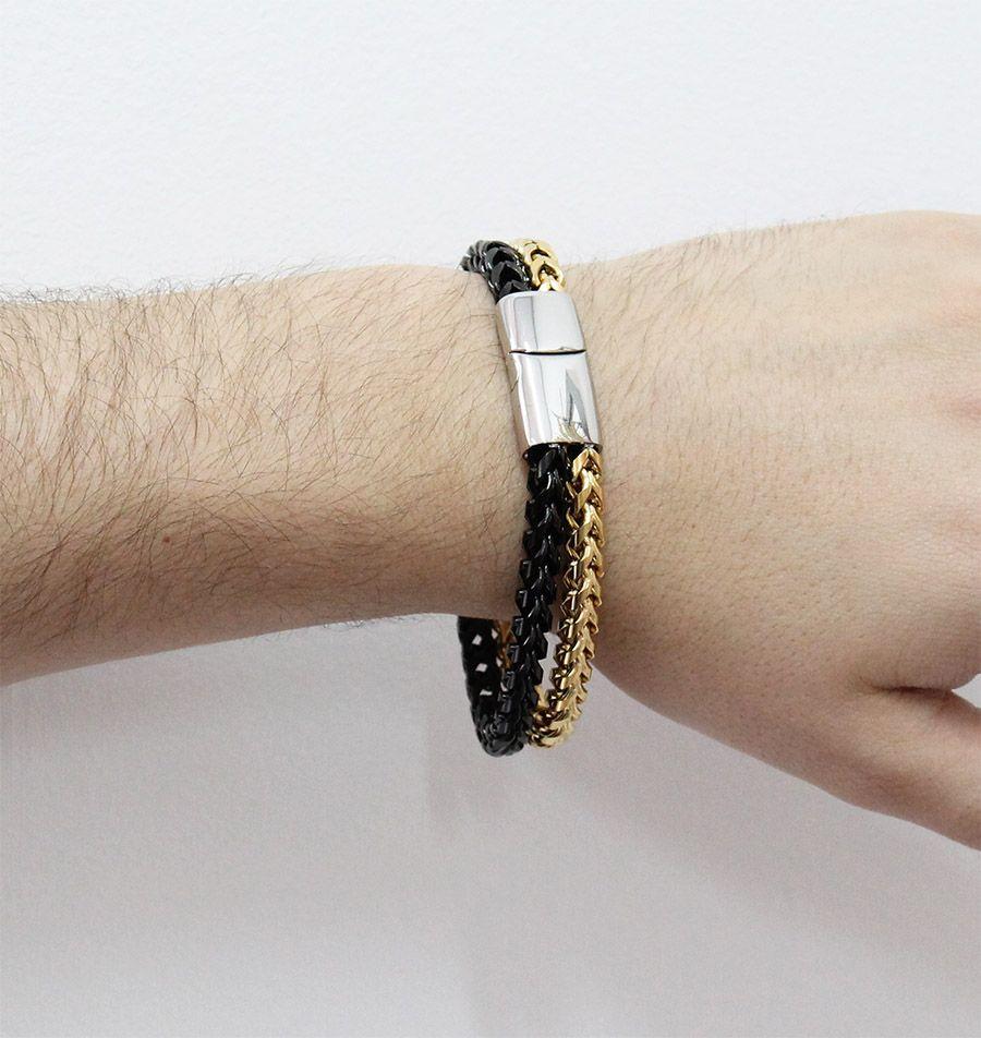 Pulseira de Aço Inox Dupla Cor com 13mm de largura Black and Gold
