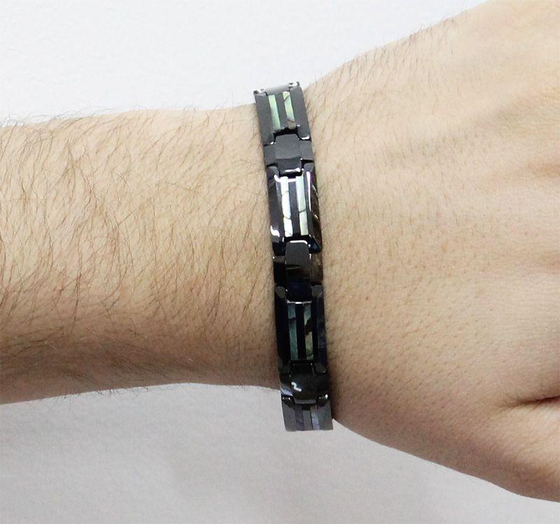 Pulseira de Tungstênio com 11mm Black com Trabalho Artesanal