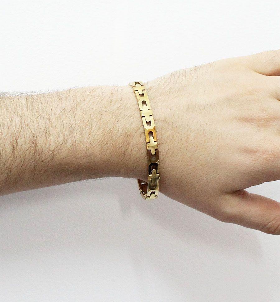 Pulseira de Tungstênio Gold com 7mm de largura