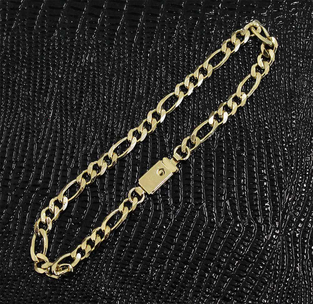 Pulseira Elo3x1 Com 5mm Folheada a Ouro Fecho Gaveta