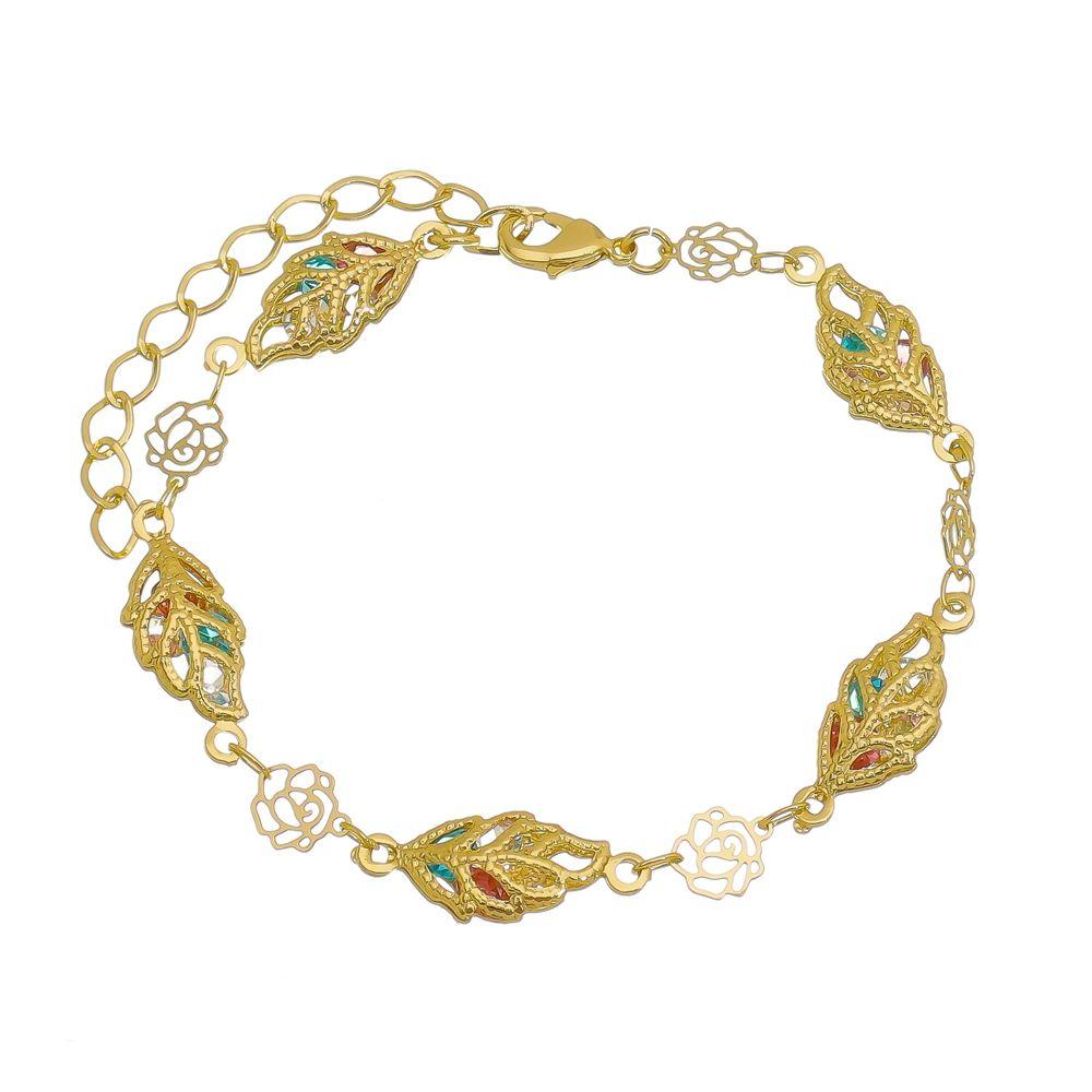 Pulseira Flores Coloridas Folheada a Ouro 18k