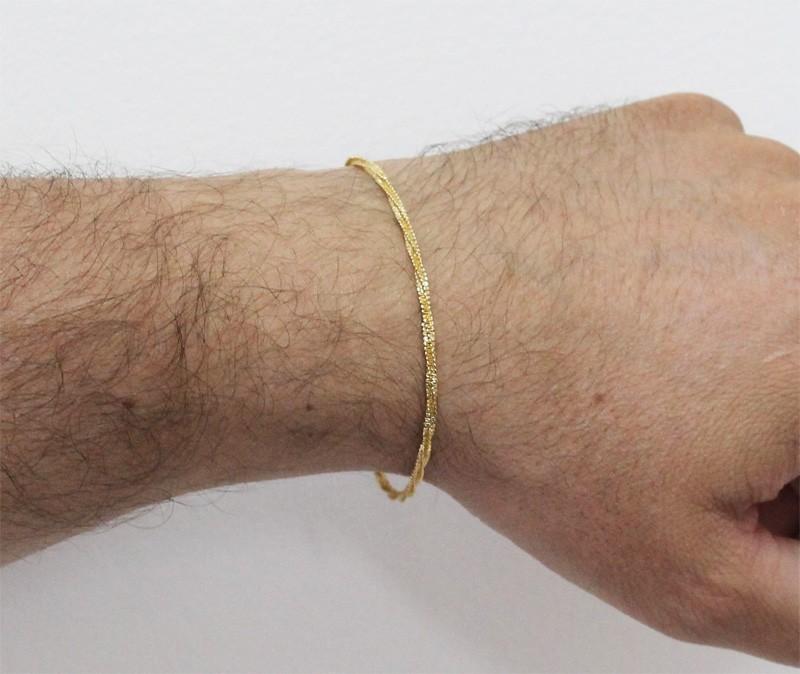 Pulseira Folheada a Ouro 18k Modelo Cordão Torcido