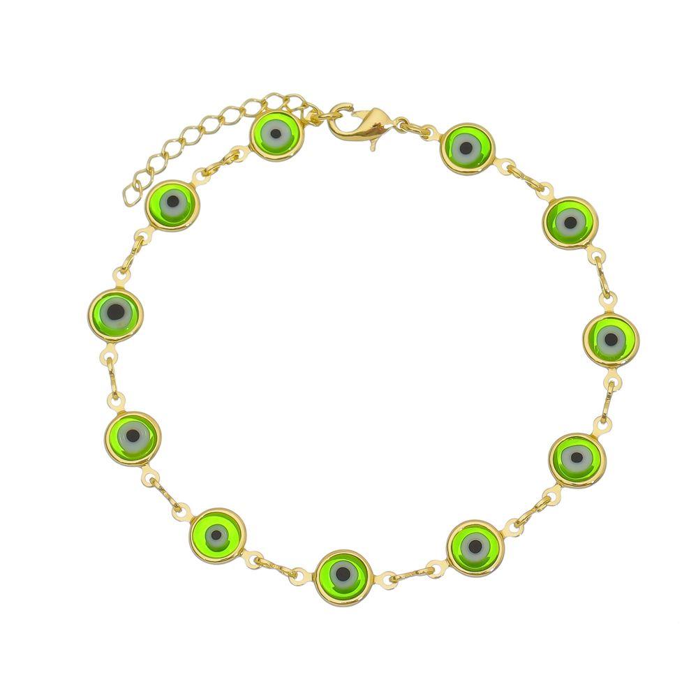 Pulseira Olho Grego Verde Folheada a Ouro 18k