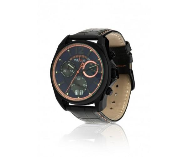 a9179897e7a Relógio Marca Rosso Black com Visor Azul e Rosê e Pulseira de Couro - Tudo  Jóias ...