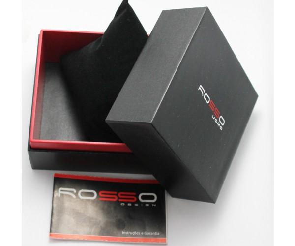 cf703d12f23 ... Relógio Marca Rosso Black com Visor Azul e Rosê e Pulseira de Couro - Tudo  Jóias