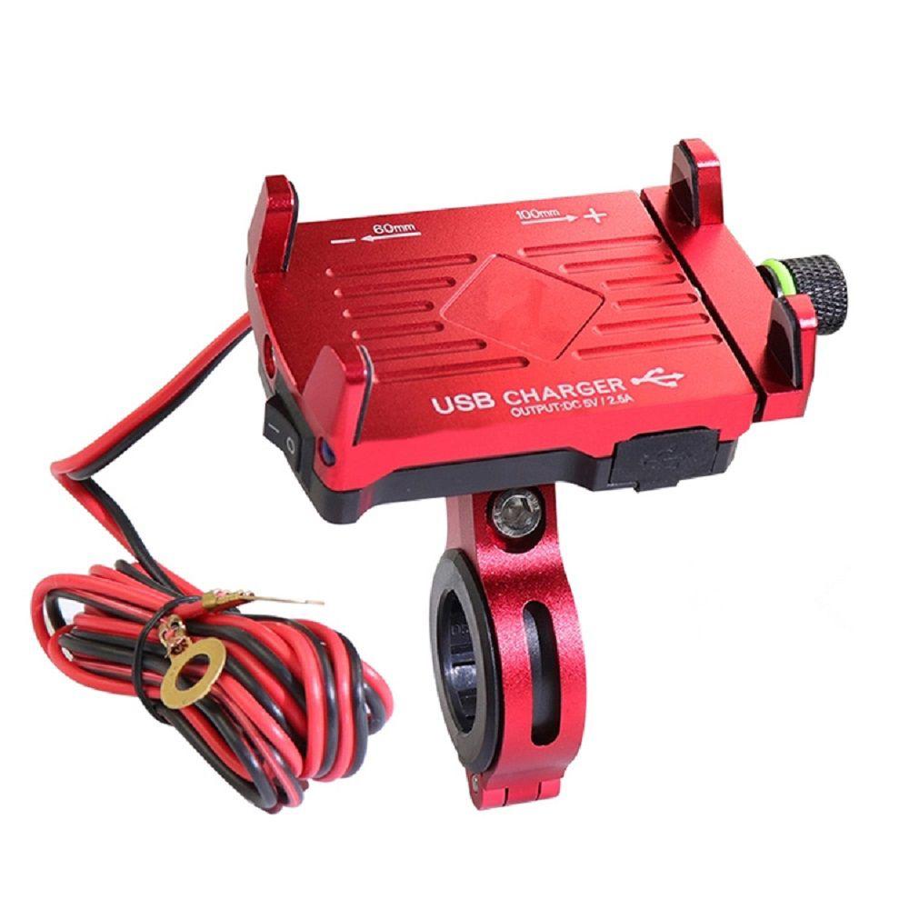 Suporte de GPS e Celular para Moto/bicicleta em alumínio Com carregador USB e com sistema de rotação 360º