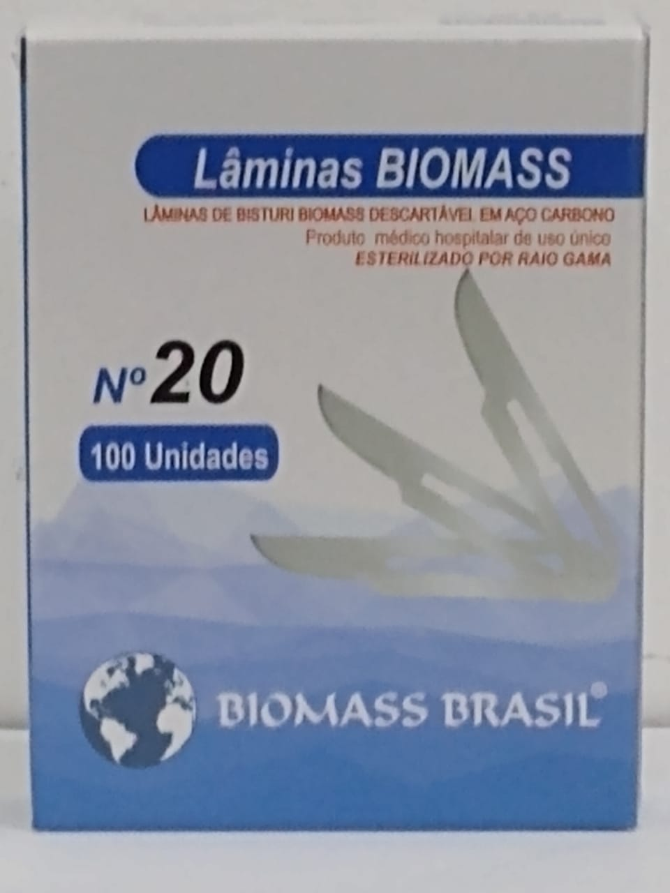 LÂMINA P/ BISTURI ESTÉRIL N° 20  EM AÇO CARBONO C/100 Unids.