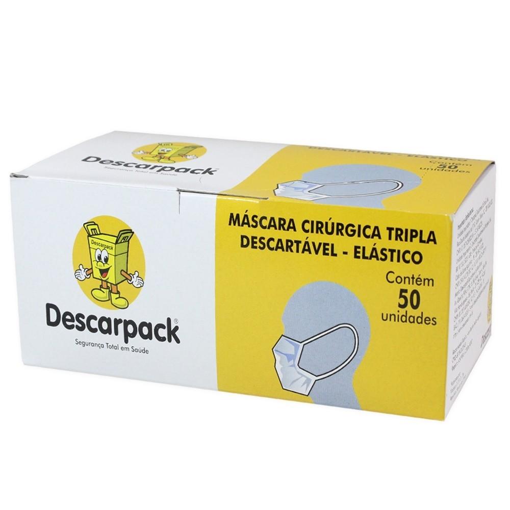 MASCARA CIRÚRGICA TRIPLA DESCARTÁVEL C/ ELÁSTICO C/ 50 UNIDS.