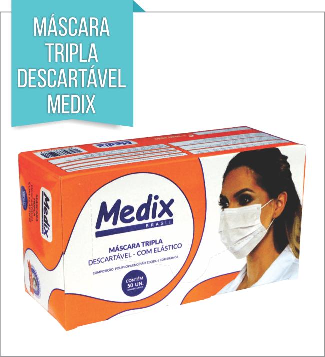 MÁCARA TRIPLA DESCARTÉVEL MEDIX C/ 50 Unids.