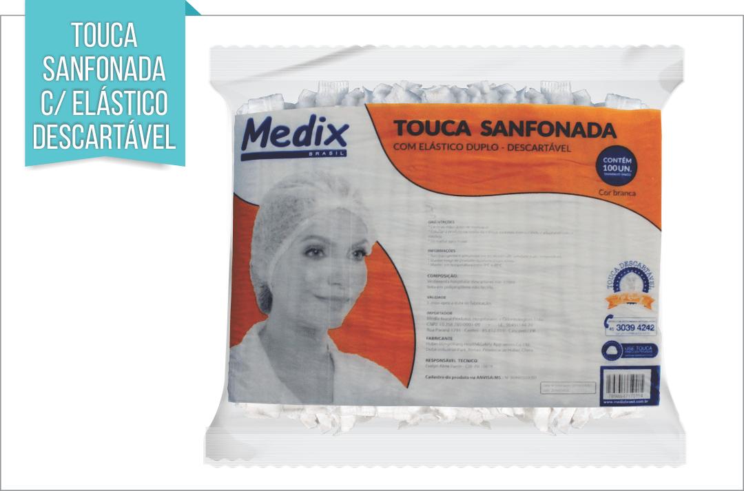 TOUCA SANFONADA C/ ELÁSTICO DESCARTÁVEL C/ 100 unids.