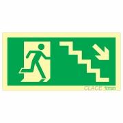 Placa Fotoluminescente Escada desce à Direita
