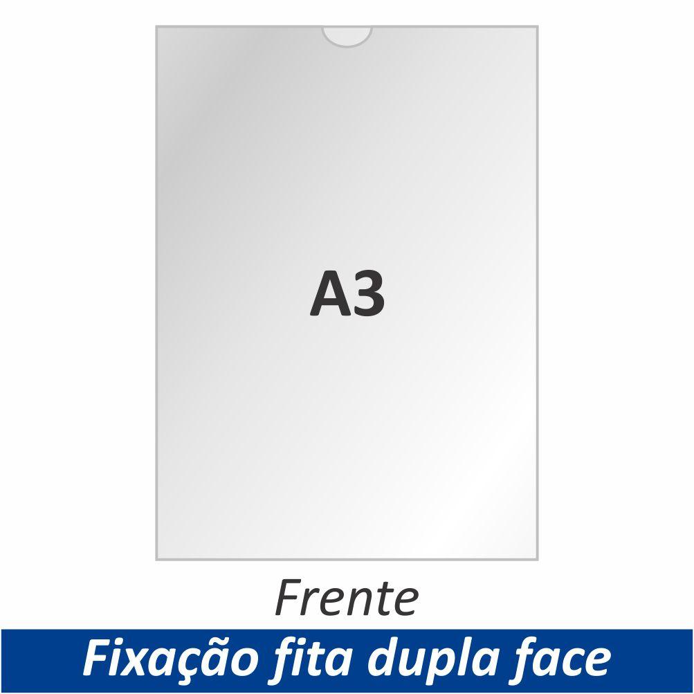Display A3 em Acrílico com Fixação Fita Adesiva Dupla Face - Clace 1 UN