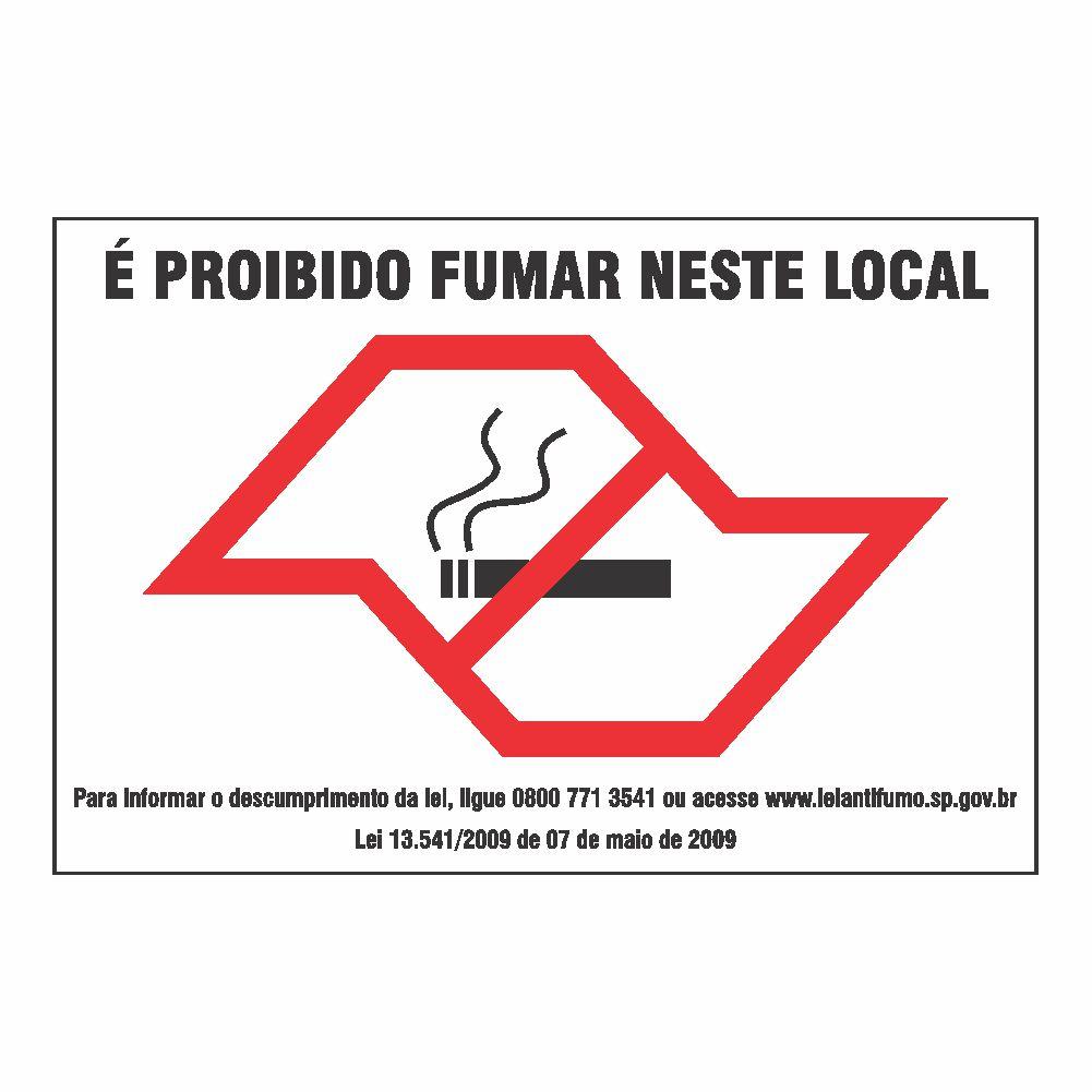 Placa NÃO FUME (lei estadual)