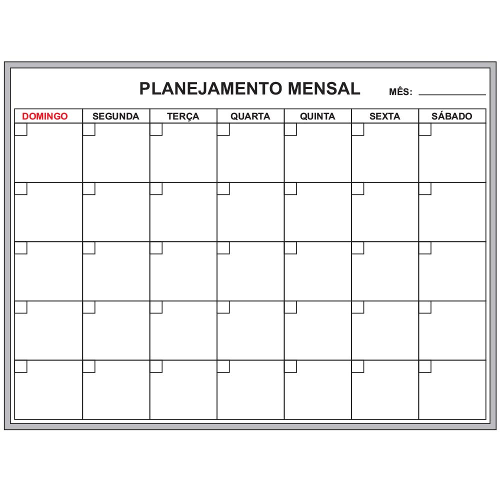Quadro de Planejamento Mensal - 120 x 90 cm - Clace 1 UN