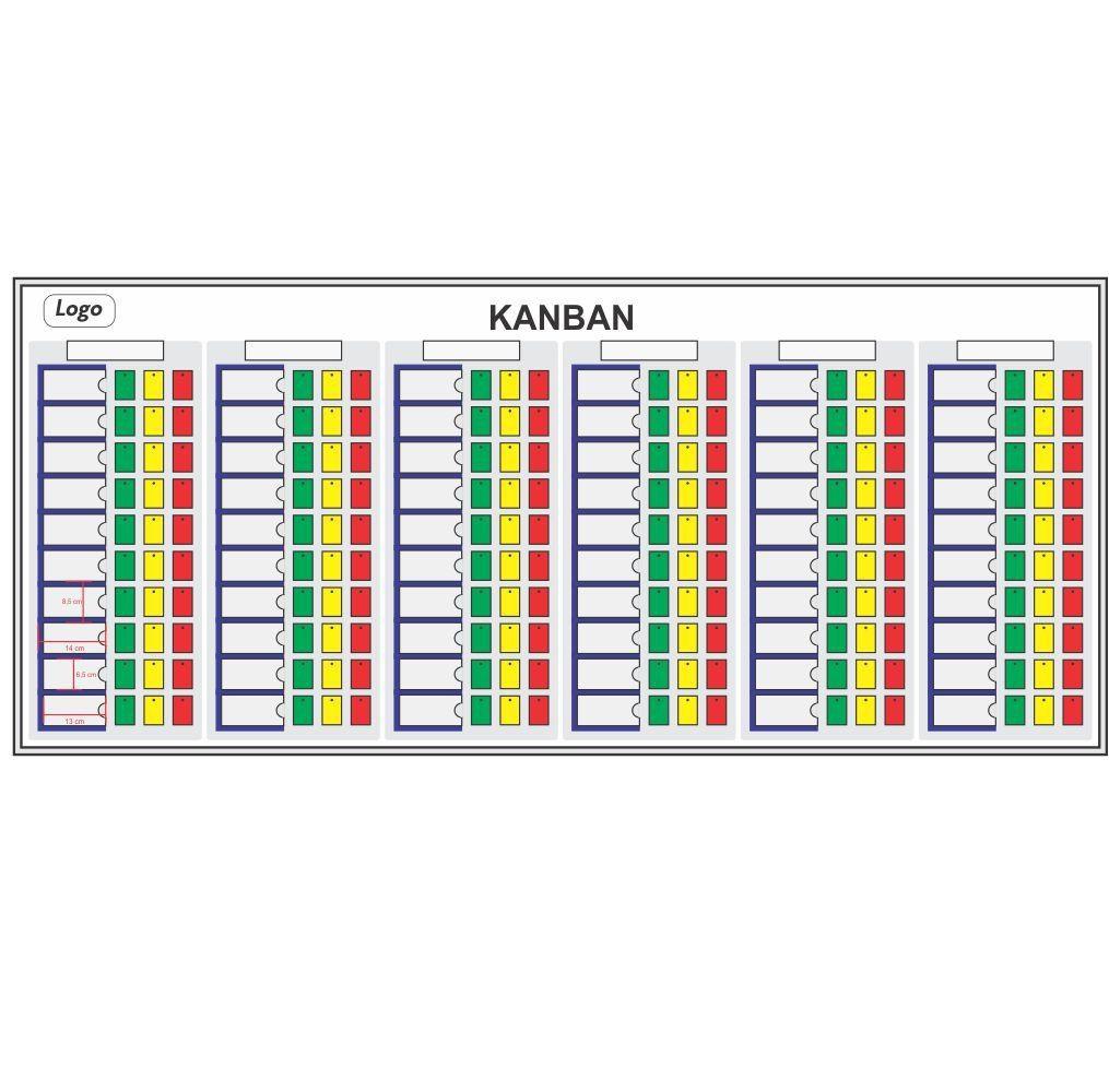 Quadro Kanban para Cartões (Acompanha Cartões) - 230 x 100 cm