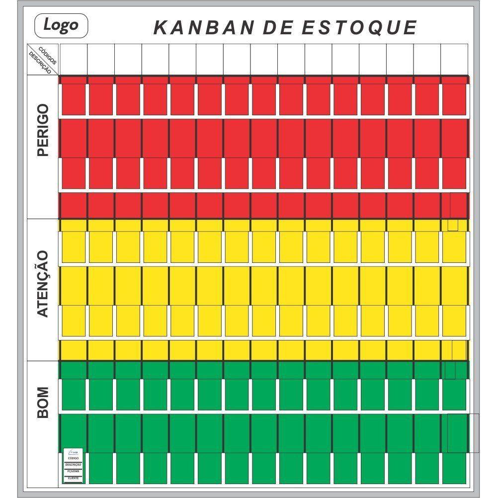 Quadro Kanban de Estoque com Suporte (119 x 128cm) - Sob Medida