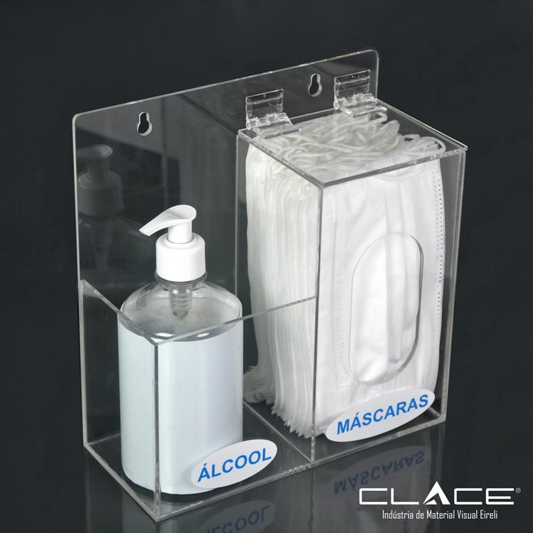 Suporte Dispenser para Álcool em Gel e Máscara - Clace