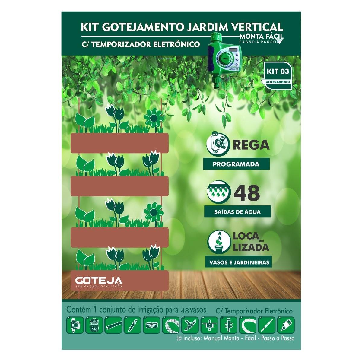 Kit Irrigação p/ Vasos e Jardim Vertical c/ Temporizador Eletrônico