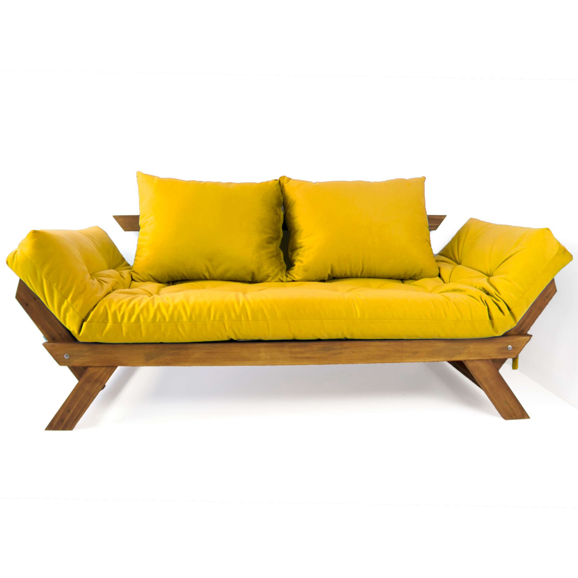 e36fa97904277f Sofá Japão Futon Amarelo Em Madeira Maciça Imbuia