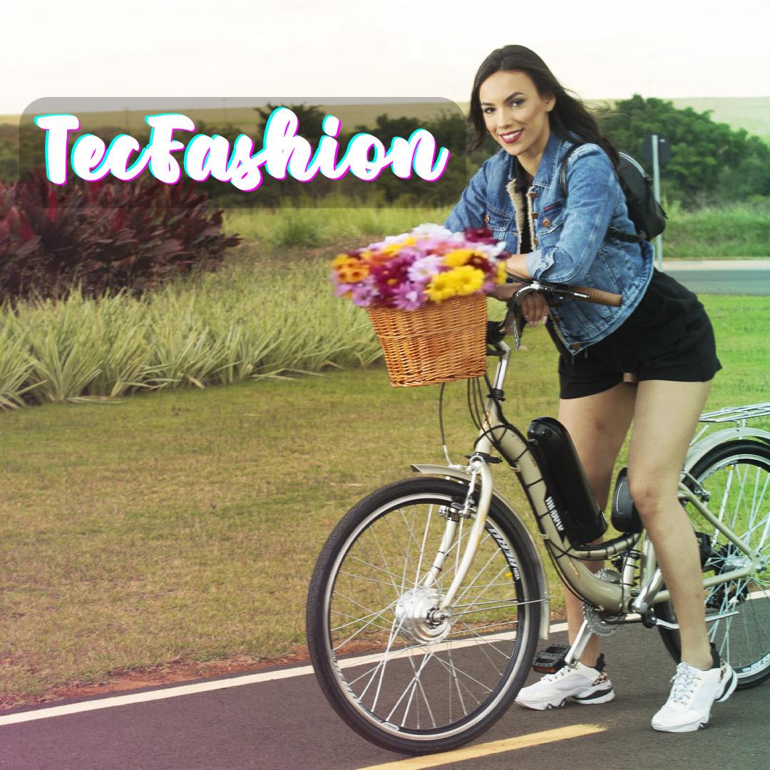 Bicicleta Elétrica Feminina TecFashion Aro 26 Bateria de LÍTIO 350 Watts