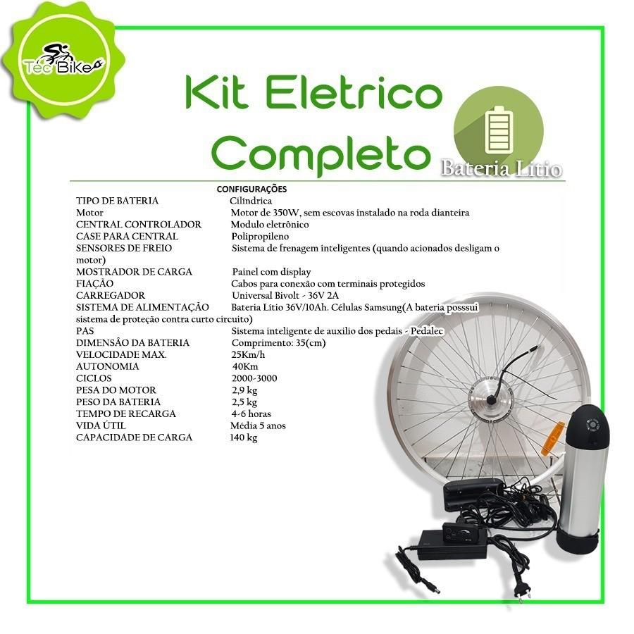 Kit Elétrico TecBike Cilindrico - ARO 26 (Negociação)