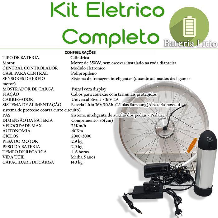 Kit Elétrico 350 W Bicicleta - Bateria Litio Para Freio Disco Aro 26