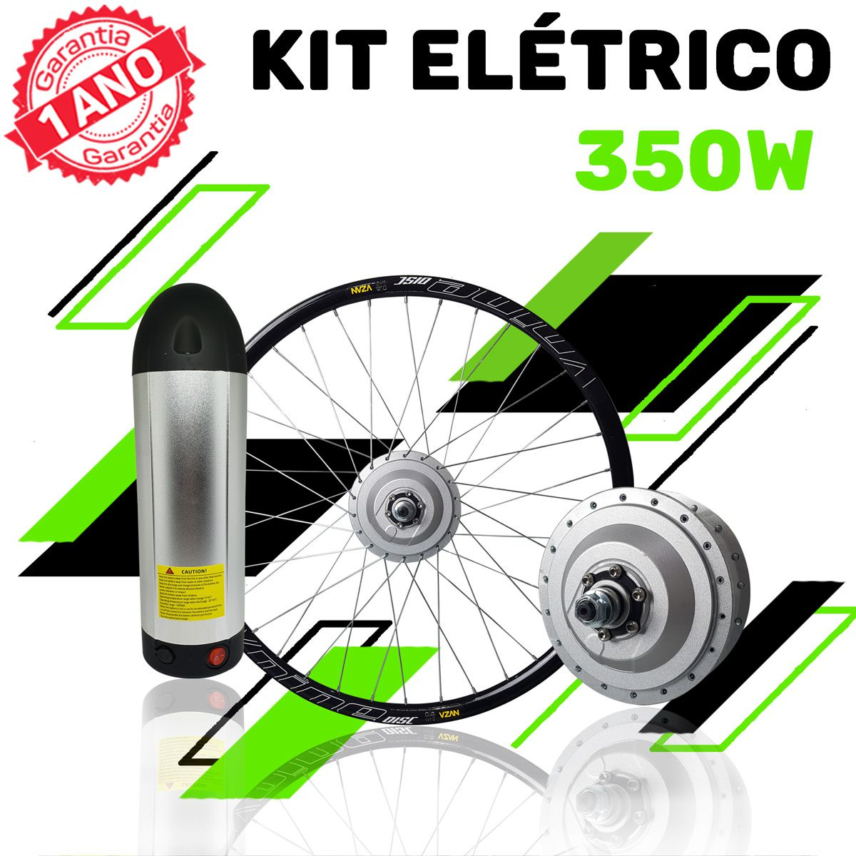 Kit Elétrico 350 W Bicicleta - Bateria Litio Para Freio V Brake (Aro 20)