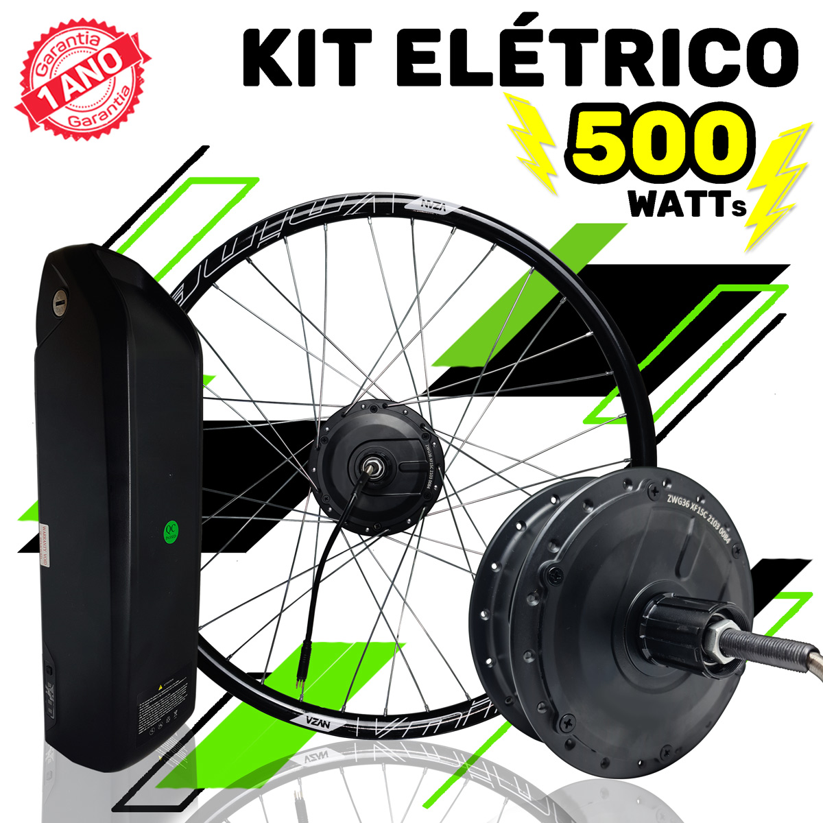 Kit Elétrico para Bicicleta - TecBike - 500 Watts 36V - Aro 20