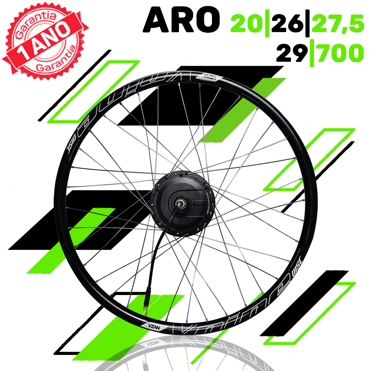 Kit Elétrico para Bicicleta - TecBike - 500 Watts 36V - Aro 26