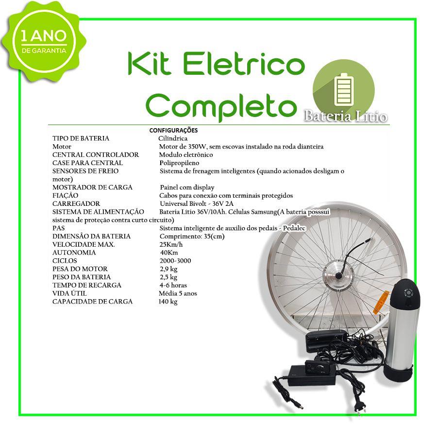 Kit Elétrico TecBike Cilindrico - ARO 29 (Preto) - Rapid Fire