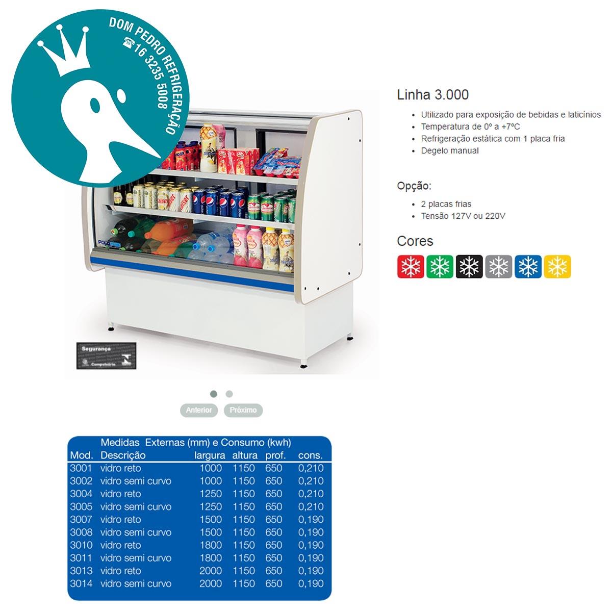 Balcão Refrigerado Pop Luxo Vidro Semi Curvo 2,00 - Polofrio