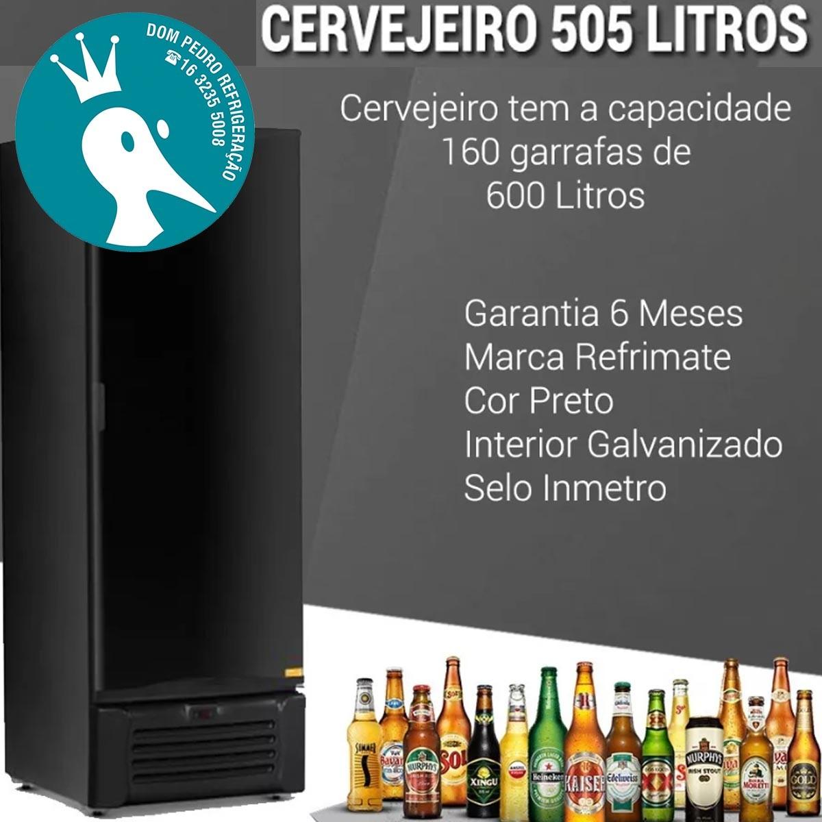 Cervejeira Refrimate VCC 600S Preta 600 Litros Porta Sólida
