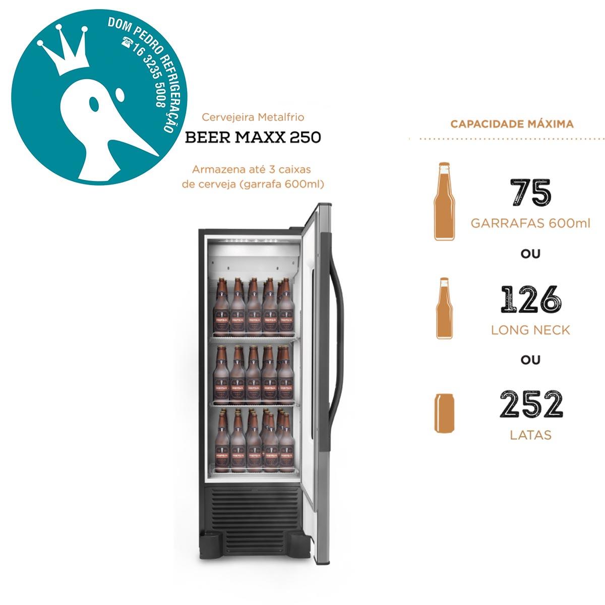 Cervejeira Vertical Aço Inox 1 Porta com Visor 262L Beer Maxx 250 - VN25TE - Metalfrio