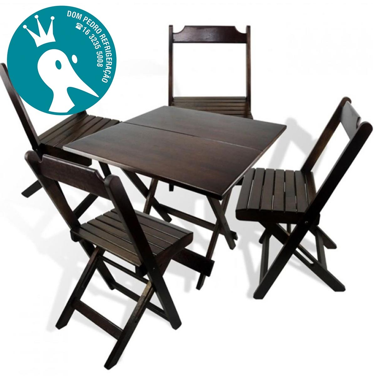 Conjunto Mesa e Cadeira Dobrável de Madeira 70x70cm Imbuia