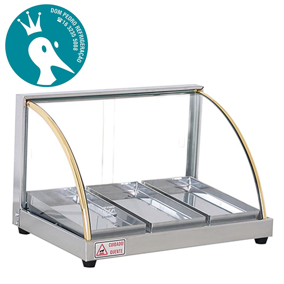 Estufa para Salgados Vidro Curvo 3 Bandejas W3B Titã