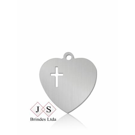 Chapinha P11- pingente coração com cruz vazada para corrente(100 pçs)
