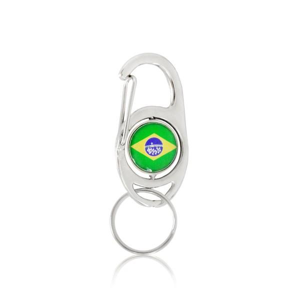 CHAVEIRO MOSQUETÃO GIRATÓRIO BRASIL AE1053 (100 UNIDADES)