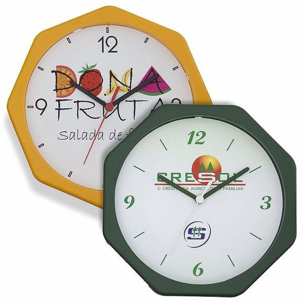 Kit de Relógio de Parede Oitavado 24cm (5 Peças)
