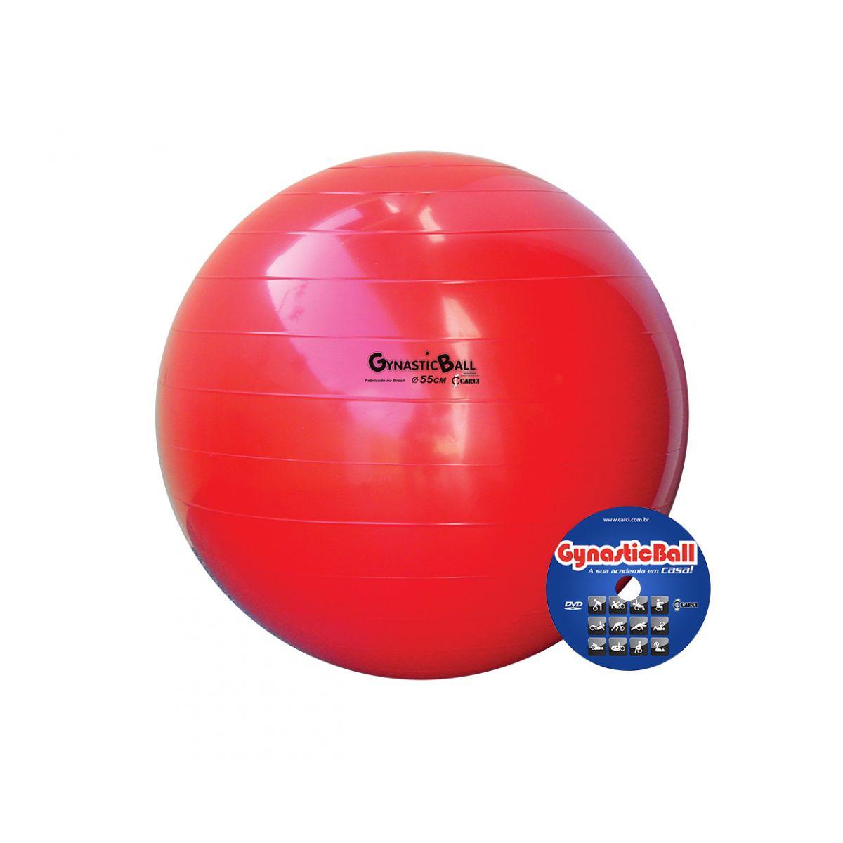 Bola suíça para exercícios 55 cm vermelha Gynastic Ball - BL.01.55
