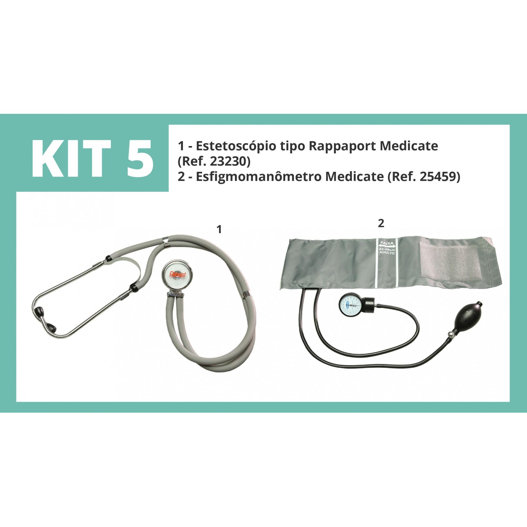 Kit 5 - Estetoscópio tipo Rappaport Medicate+ Esfigmomanômetro Medicate