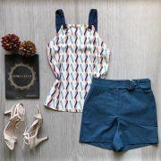 Shorts Azul Sarja com Cinto